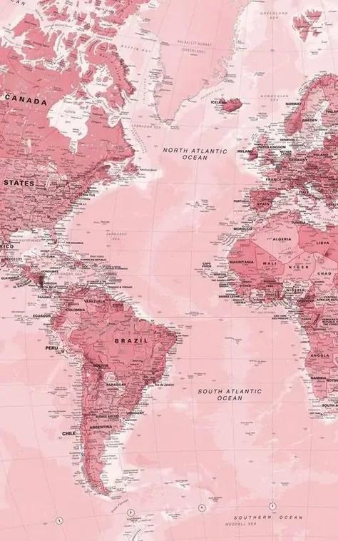 Pink-World-Map-Wallpaper-Mural-Murals-Wallpaper 5