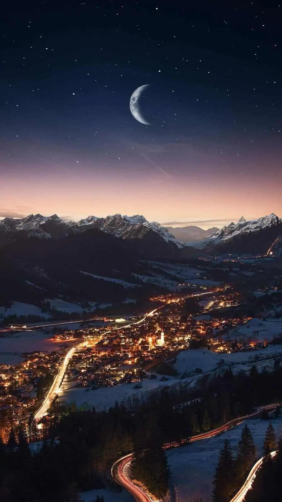 Snow-Night-Sky-iPhone-Wallpapers 5