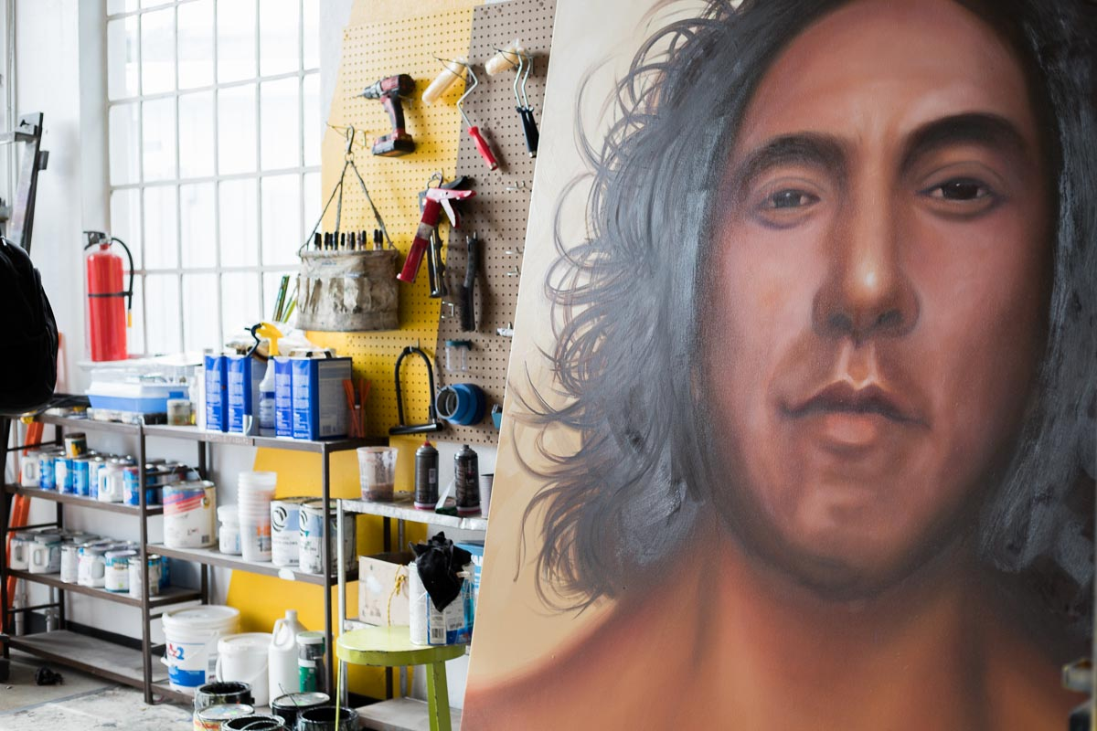 Painter Patrick Kane McGregor's art + materials in his shared studio space, Denver, Colorado