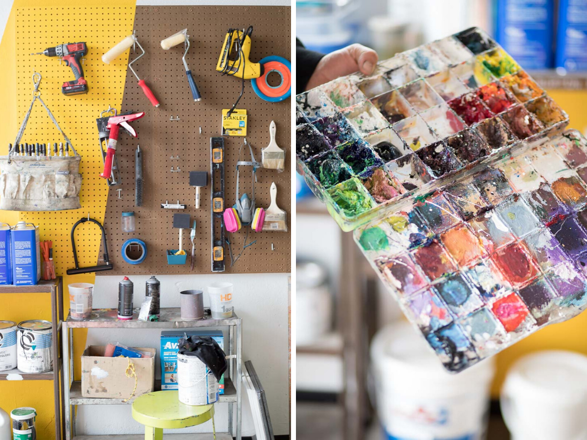 Painter Patrick Kane McGregor's art materials in his shared studio space, Denver, Colorado