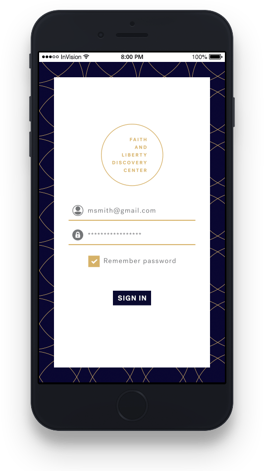 mockup on iphone of fldc portal mobile login