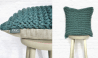 Chunky Knit Cushion Pillow Hand Knitted Chunky Garter Cushion in Sea Green