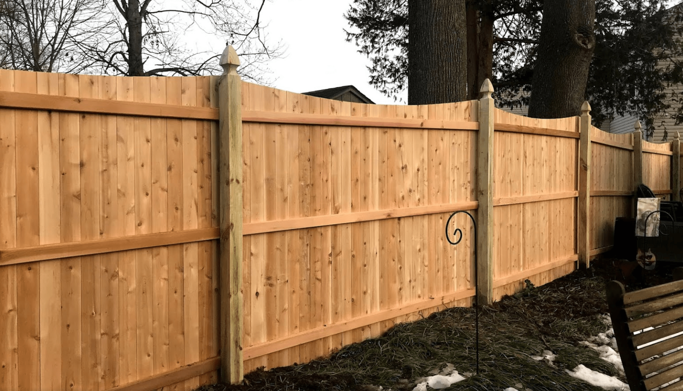 Wood fence installed on Donna Stein's property by Artistic Fence Company in December 2020