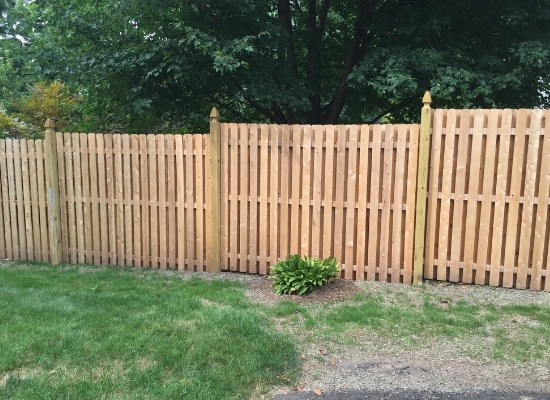 Board on board wood privacy fence stepped with uneven ground