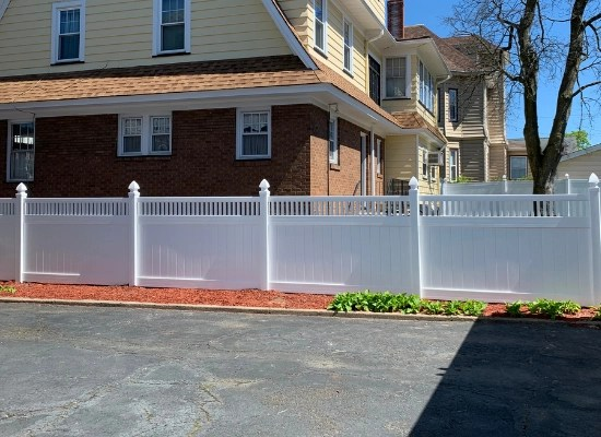 Closed Top Vinyl Privacy Fence, white, with Gothic caps