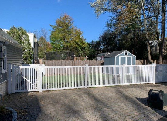 White picket fence, backyard fence with gate