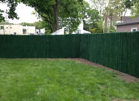 Green Chain Link with green vinyl slats