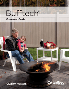 Bufftech Consumer Guide front cover of fenced in backyard with a grandpa and his grandaughter sitting at a fire pit