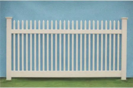 The Artistic Fence Wildwood traditional picket fence style has smaller pickets with sharp tops