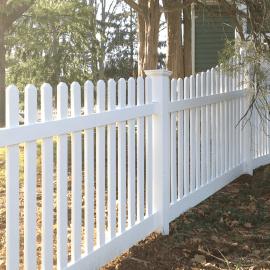 white vinyl pvc picket fence