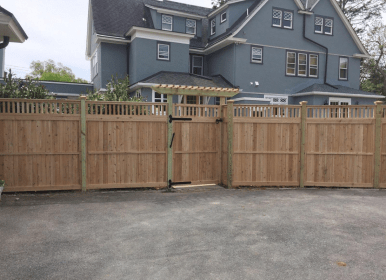 Solid Wood Fence, Closed Top, with gate and arbor