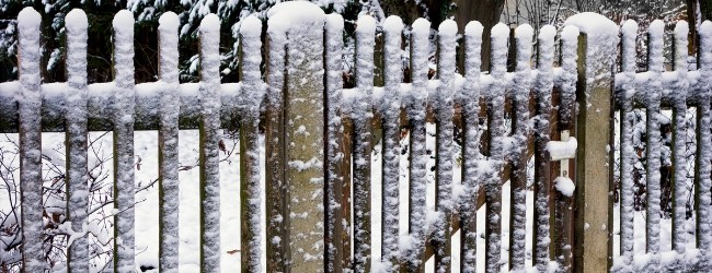 snow stuck to a wood picket fence and gate