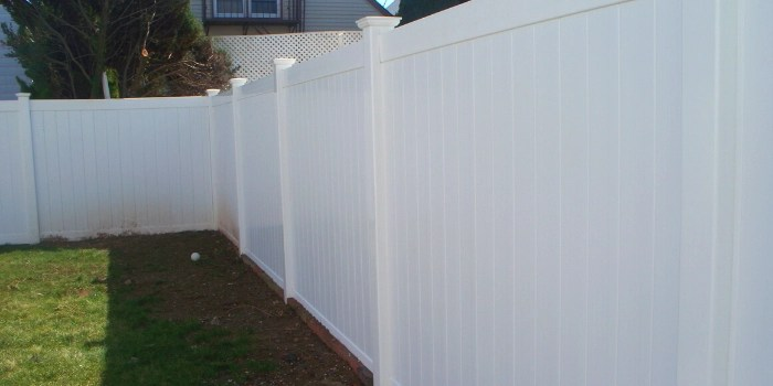 white vinyl privacy fence is a great choice for a yard with a dog
