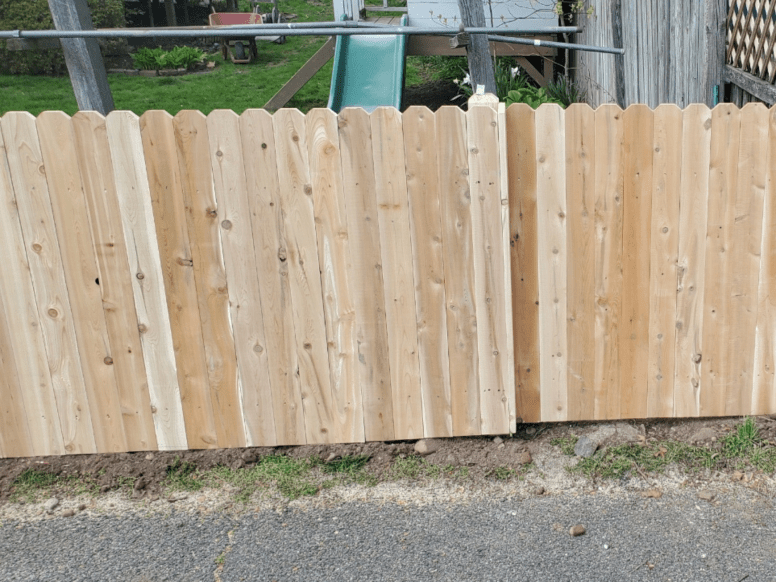 #111 wood dogear picket fence installed by Artistic Fence Company of northern New Jersey