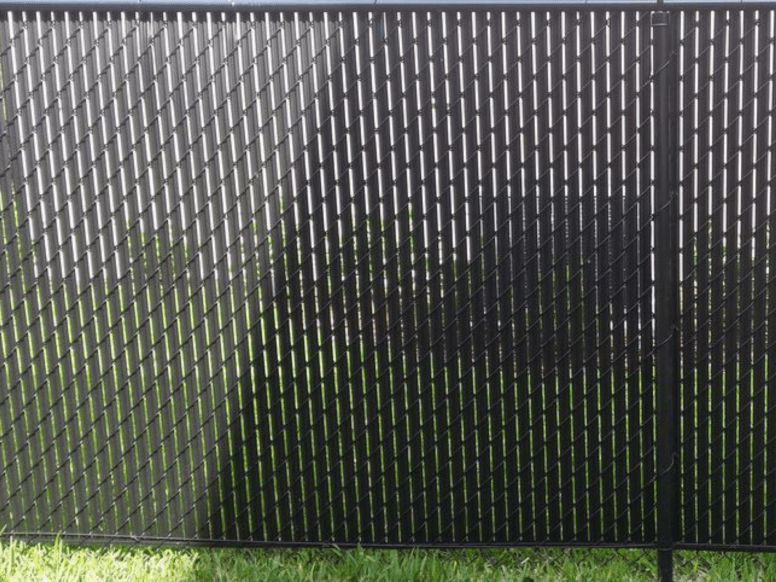 Black System II Chain Link Fence with Privacy Slats