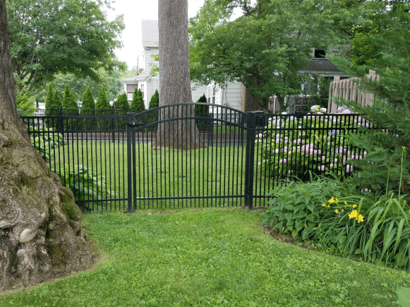 Contemporary Aluminum Fence & Crowned ALUMINUM GATE IN A GARDEN