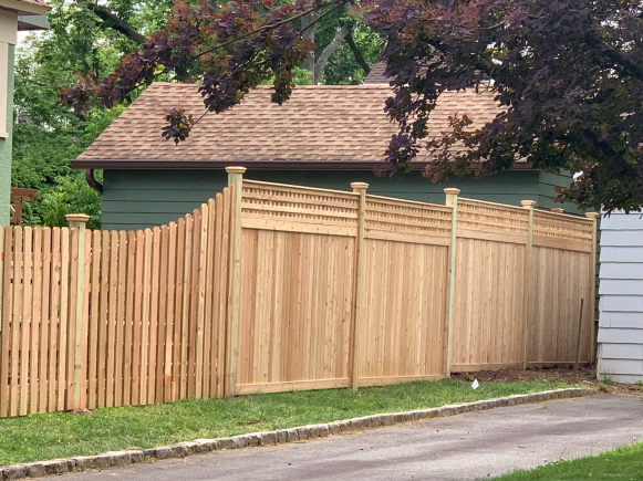 Solid wood fence with square lattice top installed in Montclair, NJ by Artistic Fence Company | Style #221