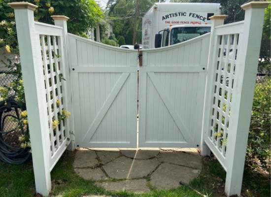 Stained white wood garden gate and trellis installed in Ho-ho-kus, New Jersey by Artistic Fence company