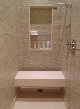 nyc shower penny tile limestone