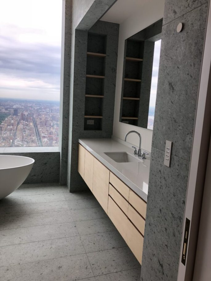 432 Park Ave bathroom 2 vanity niche with Japanese marble floor and walls