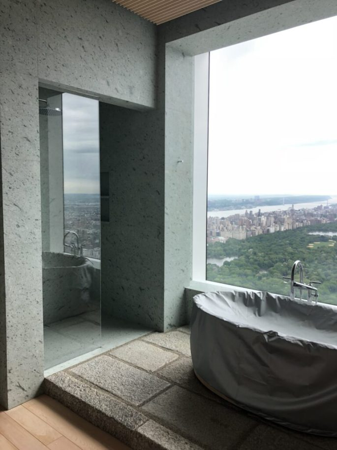432 Park Ave her bathroom in Japanese marble slab