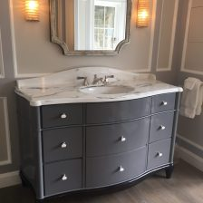 Vanity top in Paonazzo white marble