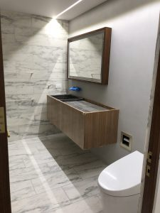 Powder room in Vermont danby marble