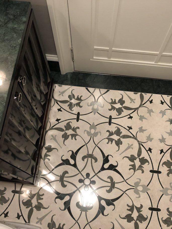 Powder room in Imperial green marble mosaic floor