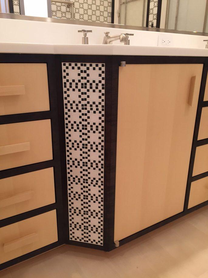 Master bathroom vanity with mosaic insert