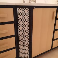 Master bathroom vanity with mosaic insert