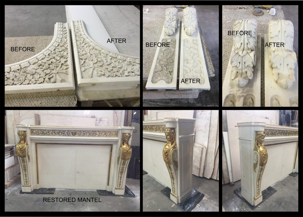 Antique marble mantel restoration Before and After