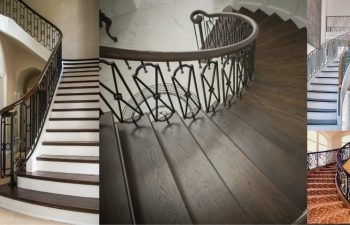 Wrought Iron Railings A Complement To Curved Stairs Southern | Iron Railing With Wood Handrail | Stair Systems | Stair Parts | Metal | Stair | Staircase