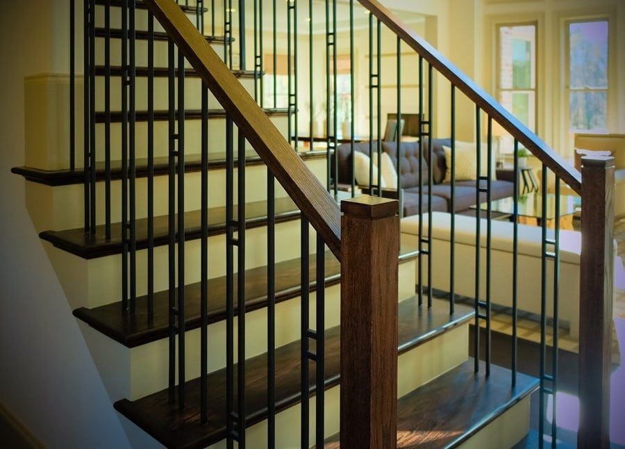 Mission Style Staircase Design Southern Staircase Artistic Stairs   Mission Style Stair Railing   Modern   Metal Picket   Decorative Glass   Staircase   Bannister
