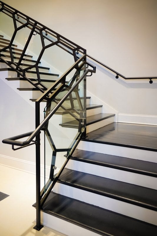 Wrought Iron Stair Railing Southern Staircase Artistic Stairs   Stair Railing Design Iron   L Shape   Home   Residential   Aluminum   Oak And Iron