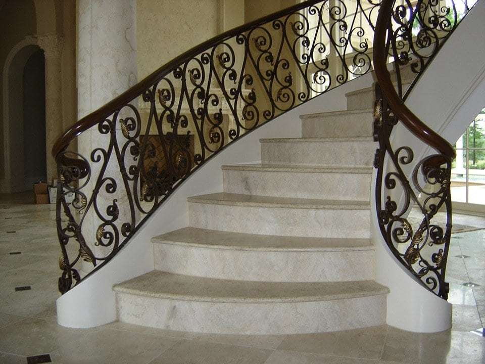 Wrought Iron Stair Railing Southern Staircase Artistic Stairs   Iron Handrails For Steps   Hand   Iron Railing   Iron Picket   Craftsman Style   Double Storey House