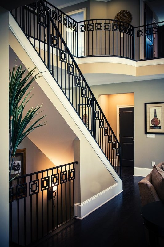 Wrought Iron Stair Railing Southern Staircase Artistic Stairs | Home Stair Railing Design | Grill | Living Room | Inside | Small House | Outside Staircase Grill