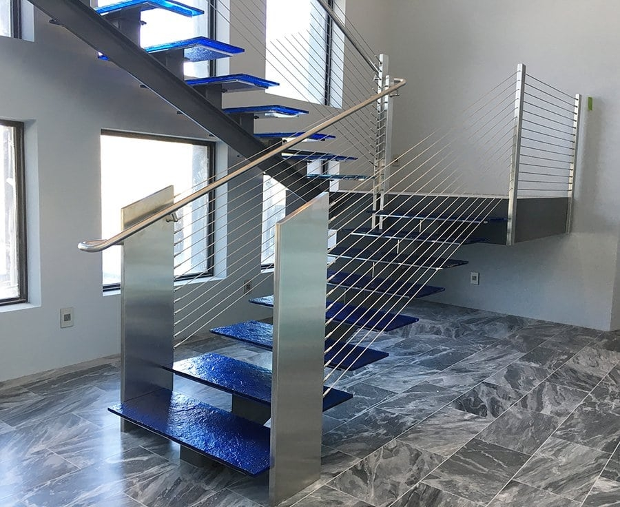 Glass Stainless Southern Staircase Artistic Stairs   Glass And Stainless Steel Stair Railing   Custom Glass   Architectural Glass   Balcony   Modern   Metal Glass