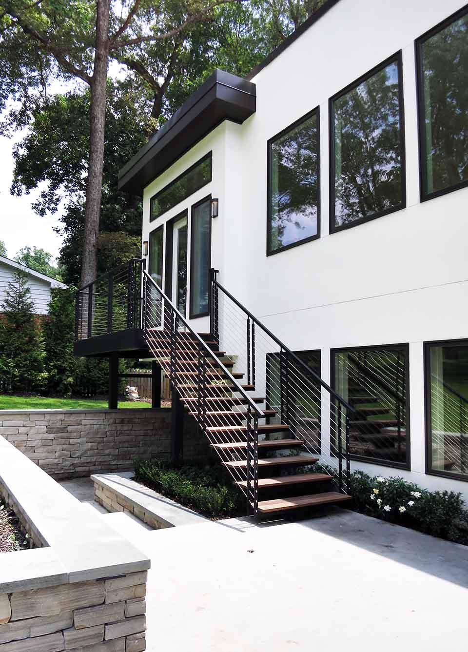 Exterior Stairs Southern Staircase Artistic Stairs | Outdoor Steel Staircase Design | Steel Framed Exterior | Indoor | Vertical Wire Balustrade | Prefabricated Steel | Stair Handrail