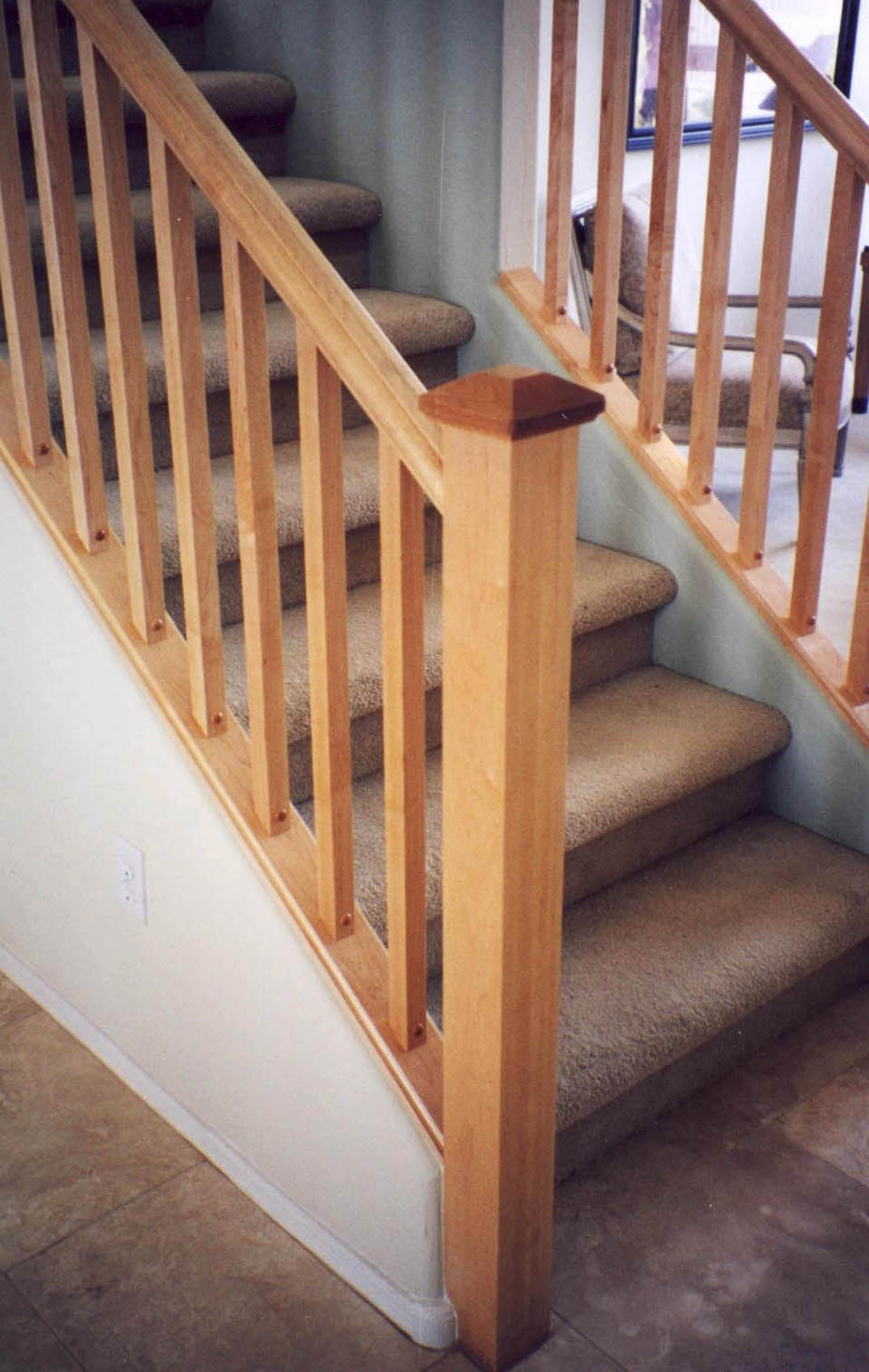 Mission Style Staircase Southern Staircase Artistic Stairs | Shaker Style Stair Railing | White | Exterior | Loft | Farmhouse Front Door | Square