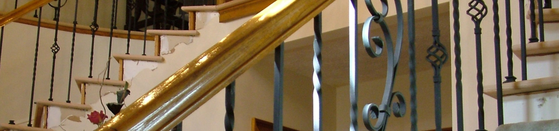 Wrought Iron Stair Railing Southern Staircase Artistic Stairs | Wrought Iron And Wood Railing | Iron Baluster | Rustic | Split Foyer | Horizontal | Banister