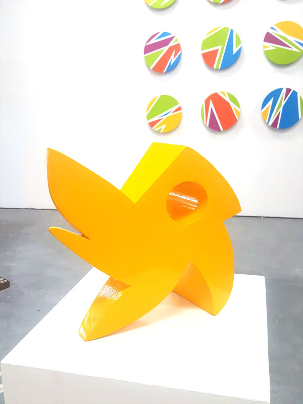 """Chick-a-dee""; 12X12X6, painted steel"