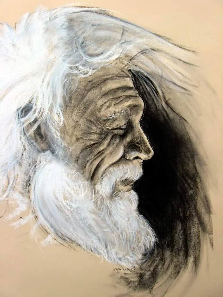 Wind Blown White Hair is a charcoal drawing of an old man
