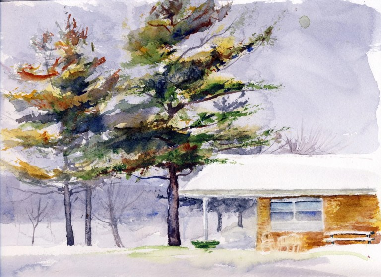 A winter watercolor scene of a building with White Pine trees. Painting illustrates the blog.