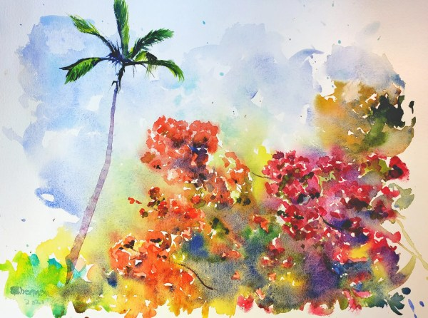 a painting titled Maui color and flora