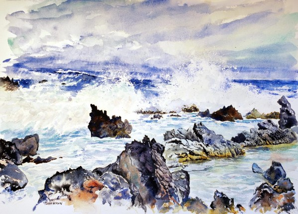 a painting of the Maui North Shore: Road to Hana