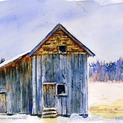 "watercolor of a farm structure titled ""Toivola Barn"""