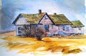 A watercolor painting of a house with native history