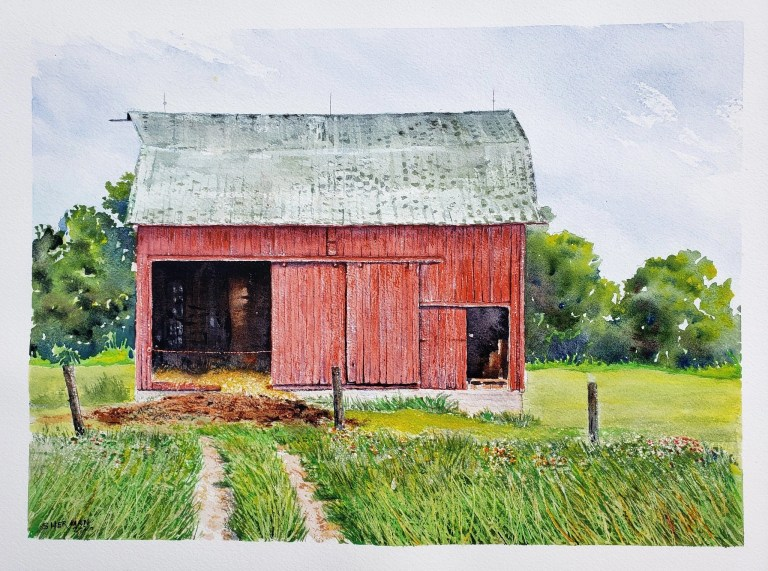 """A Painting of a Barn titled """"Barnyard Memories"""""""