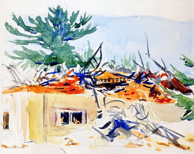 A watercolor painting of a demolished Tribal Center