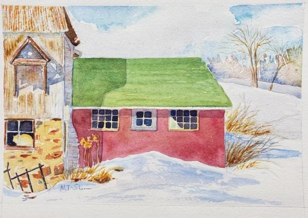 A small winter watercolor titled Skandia Centennial farm